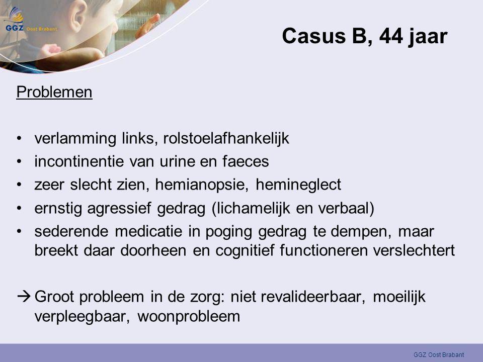 GGZ Oost Brabant Casus B, 44 jaar Problemen •verlamming links, rolstoelafhankelijk •incontinentie van urine en faeces •zeer slecht zien, hemianopsie,