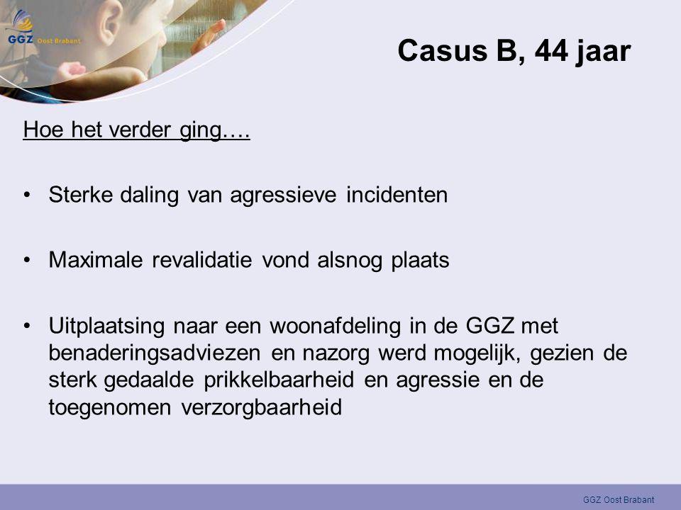 GGZ Oost Brabant Casus B, 44 jaar Hoe het verder ging…. •Sterke daling van agressieve incidenten •Maximale revalidatie vond alsnog plaats •Uitplaatsin