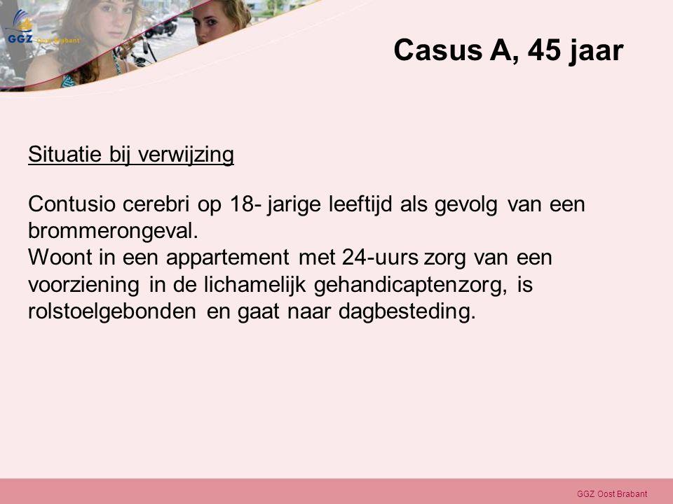 GGZ Oost Brabant Situatie bij verwijzing Contusio cerebri op 18- jarige leeftijd als gevolg van een brommerongeval. Woont in een appartement met 24-uu