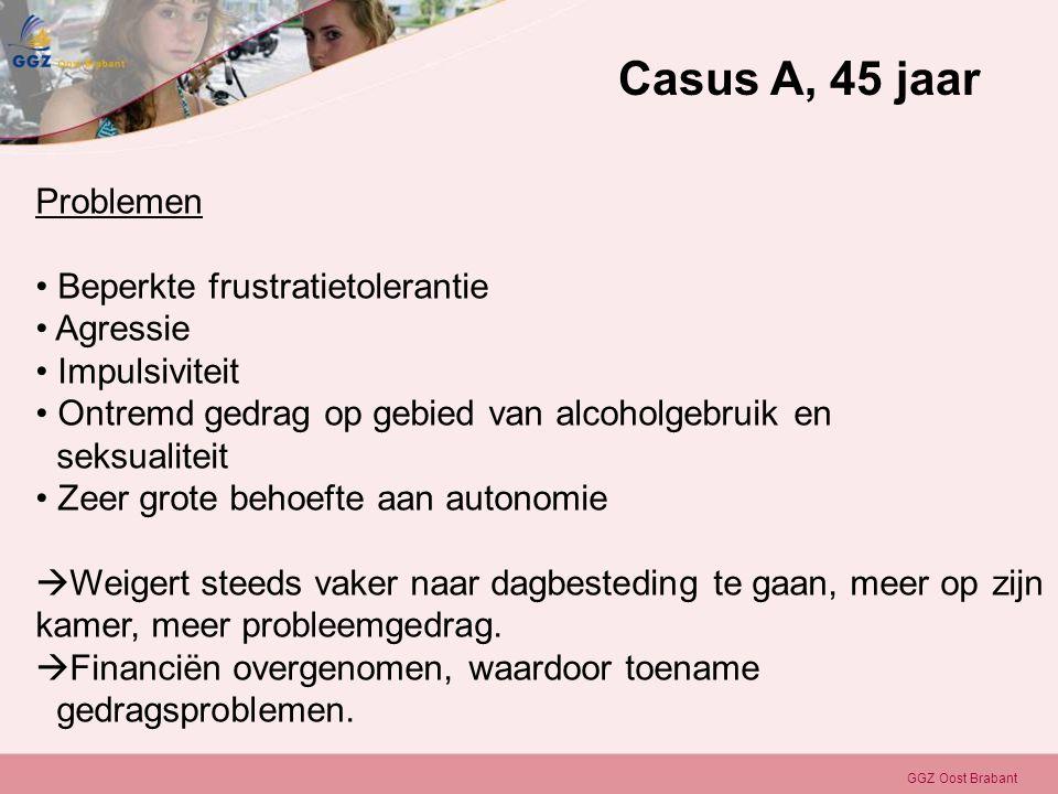 GGZ Oost Brabant Problemen • Beperkte frustratietolerantie • Agressie • Impulsiviteit • Ontremd gedrag op gebied van alcoholgebruik en seksualiteit •