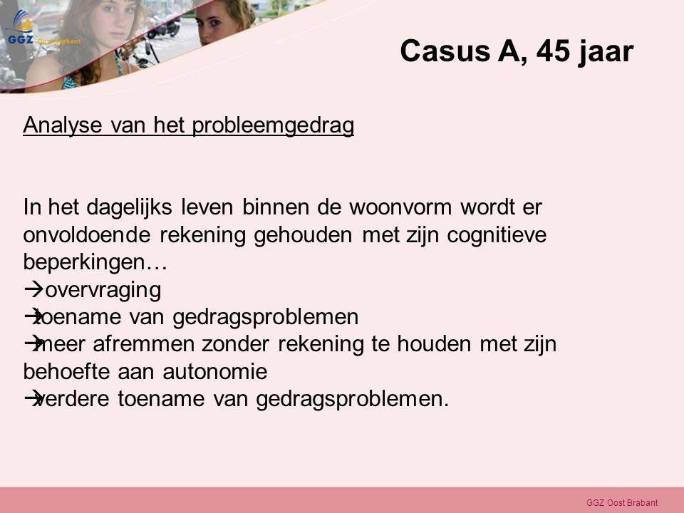 GGZ Oost Brabant Analyse van het probleemgedrag In het dagelijks leven binnen de woonvorm wordt er onvoldoende rekening gehouden met zijn cognitieve b
