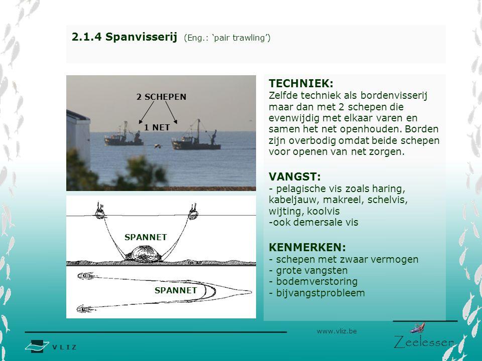 V L I Z www.vliz.be Zeelessen BORD 2.1.4 Spanvisserij (Eng.: 'pair trawling') TECHNIEK: Zelfde techniek als bordenvisserij maar dan met 2 schepen die
