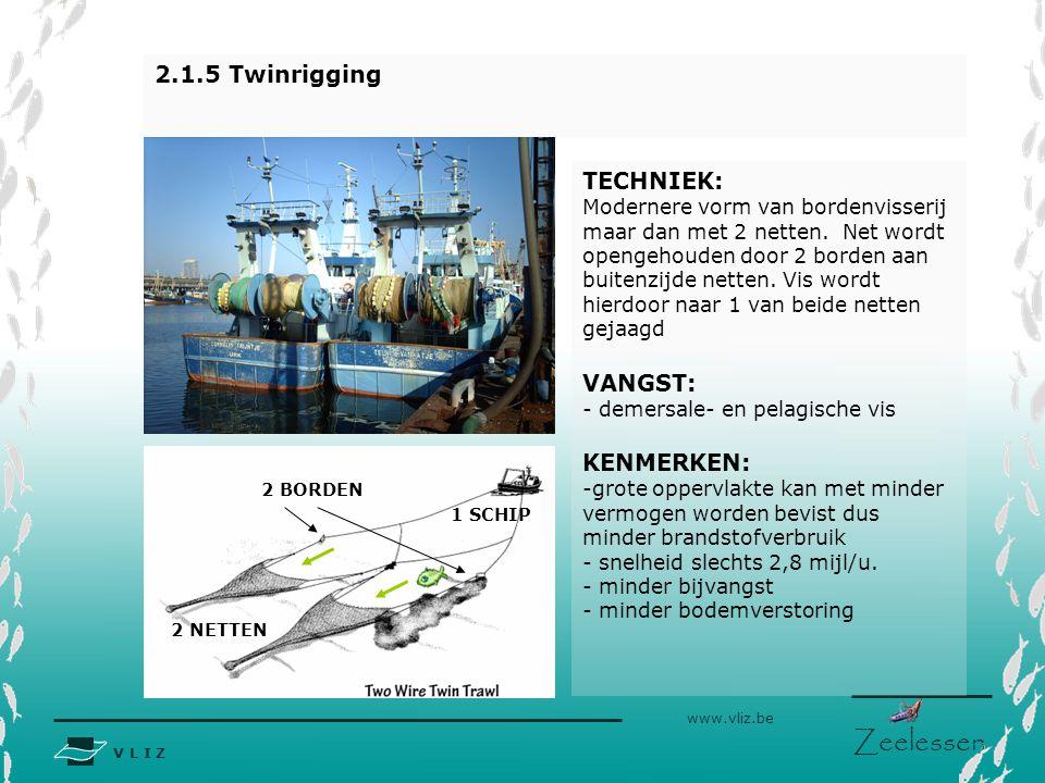 V L I Z www.vliz.be Zeelessen 2 BORDEN 2.1.5 Twinrigging TECHNIEK: Modernere vorm van bordenvisserij maar dan met 2 netten. Net wordt opengehouden doo