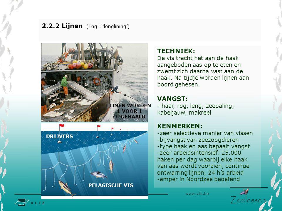 V L I Z www.vliz.be Zeelessen 2.2.2 Lijnen (Eng.: 'longlining') TECHNIEK: De vis tracht het aan de haak aangeboden aas op te eten en zwemt zich daarna