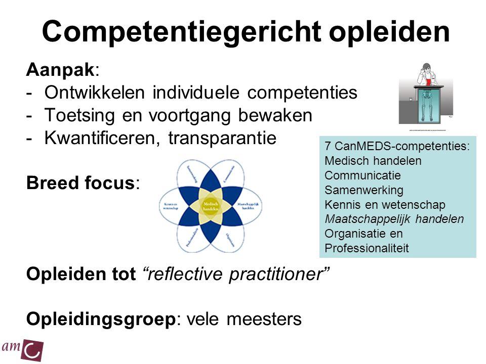 Competentiegericht opleiden Aanpak: -Ontwikkelen individuele competenties -Toetsing en voortgang bewaken -Kwantificeren, transparantie Breed focus: Op