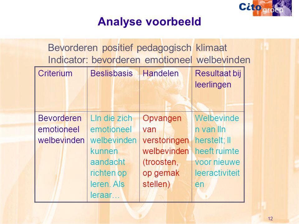 12 Analyse voorbeeld CriteriumBeslisbasisHandelen Resultaat bij leerlingen Bevorderen emotioneel welbevinden Lln die zich emotioneel welbevinden kunne