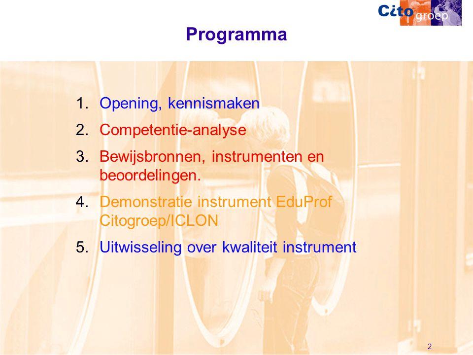 2 Programma 1.Opening, kennismaken 2.Competentie-analyse 3.Bewijsbronnen, instrumenten en beoordelingen. 4.Demonstratie instrument EduProf Citogroep/I