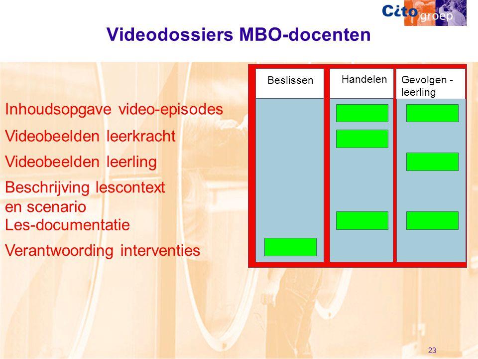 23 Beschrijving lescontext en scenario Videodossiers MBO-docenten Gevolgen - leerling Beslissen Handelen Videobeelden leerkracht Videobeelden leerling