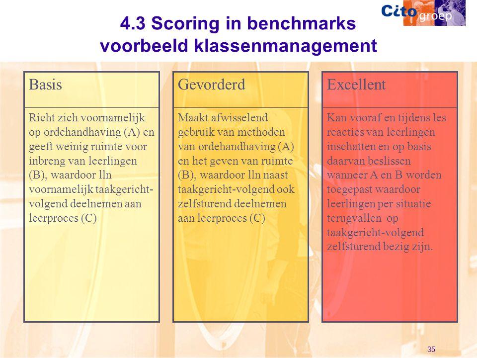 35 4.3 Scoring in benchmarks voorbeeld klassenmanagement Richt zich voornamelijk op ordehandhaving (A) en geeft weinig ruimte voor inbreng van leerlin