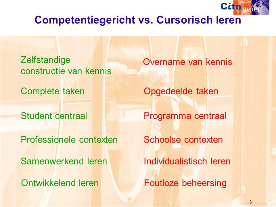 6 Competentiegericht vs. Cursorisch leren Zelfstandige constructie van kennis Overname van kennis Complete takenOpgedeelde taken Student centraalProgr