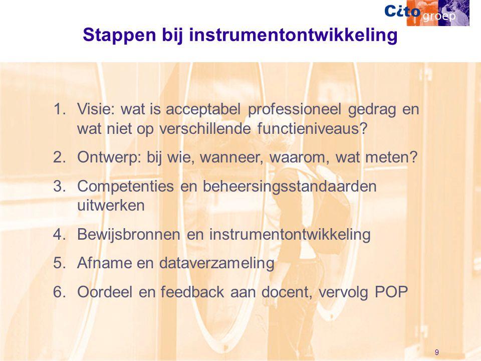 9 Stappen bij instrumentontwikkeling 1.Visie: wat is acceptabel professioneel gedrag en wat niet op verschillende functieniveaus? 2.Ontwerp: bij wie,