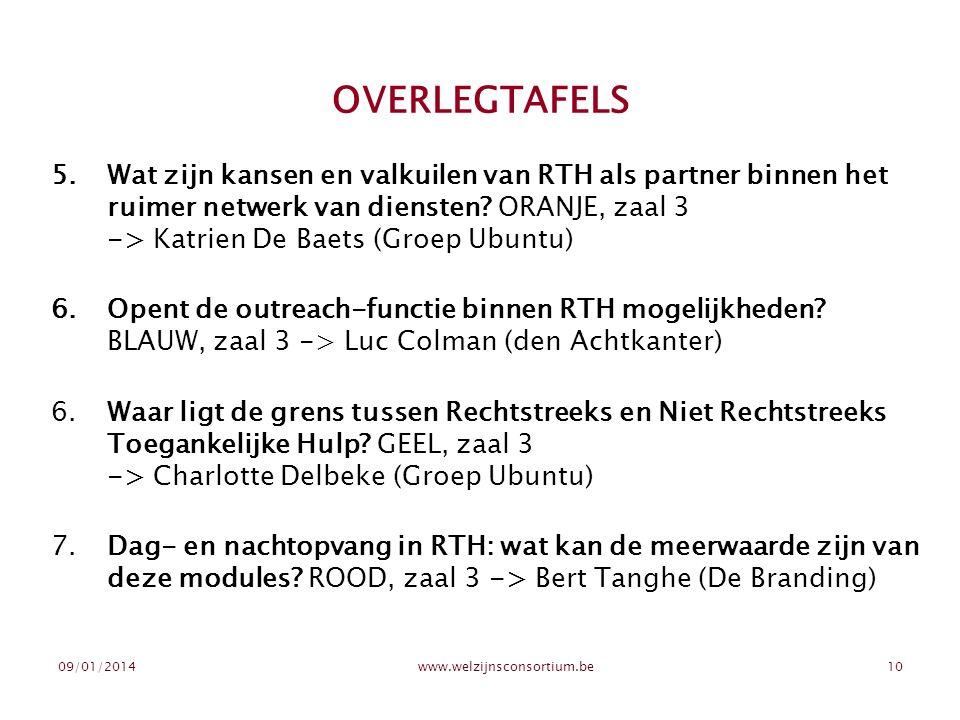 09/01/2014www.welzijnsconsortium.be10 OVERLEGTAFELS 5.Wat zijn kansen en valkuilen van RTH als partner binnen het ruimer netwerk van diensten? ORANJE,