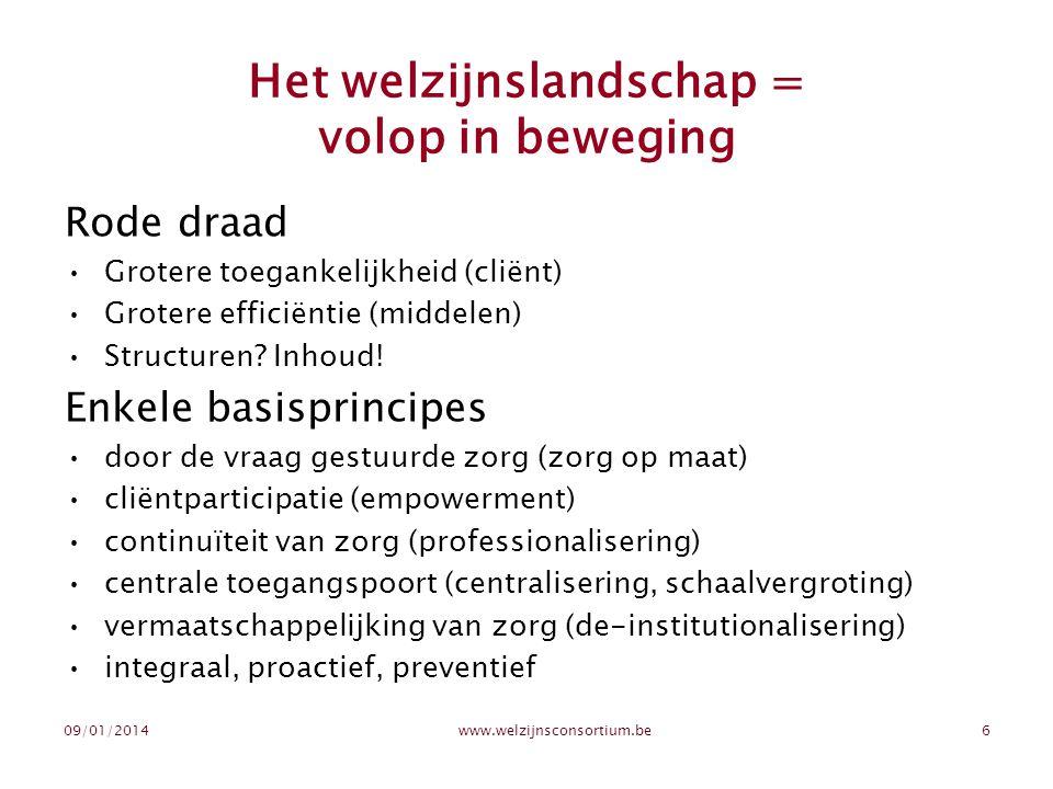 Het welzijnslandschap = volop in beweging Rode draad •Grotere toegankelijkheid (cliënt) •Grotere efficiëntie (middelen) •Structuren? Inhoud! Enkele ba