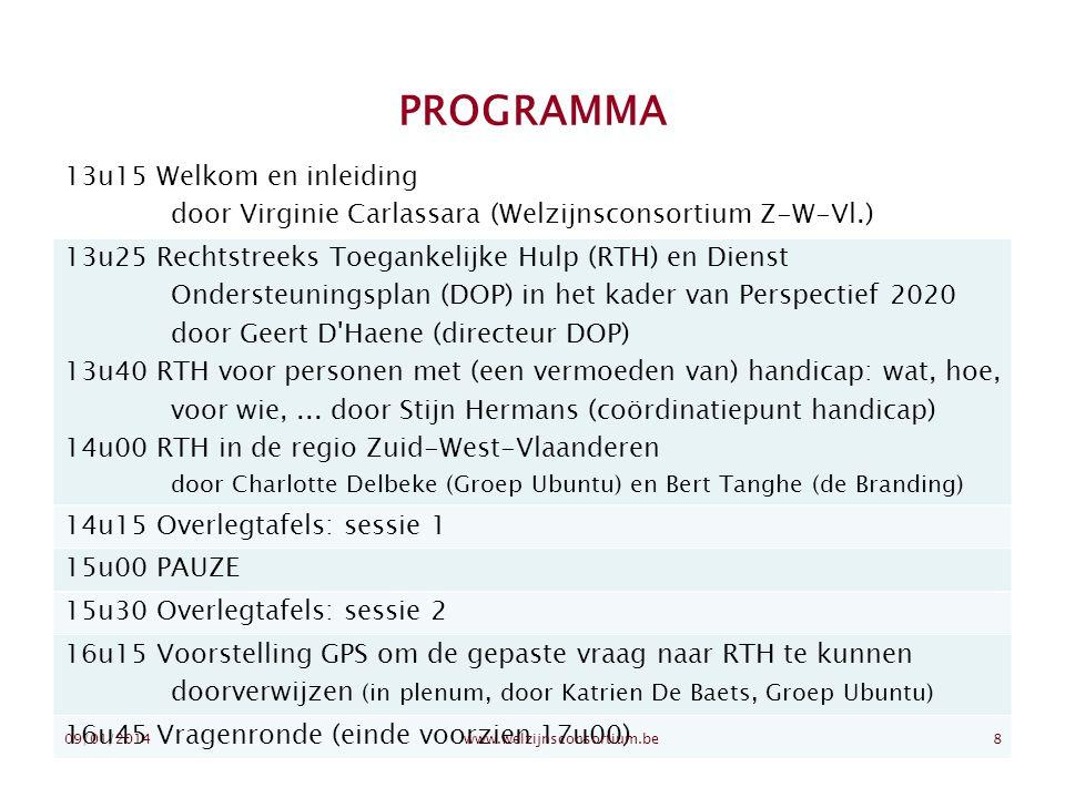 PROGRAMMA 13u15 Welkom en inleiding door Virginie Carlassara (Welzijnsconsortium Z-W-Vl.) 13u25 Rechtstreeks Toegankelijke Hulp (RTH) en Dienst Onders