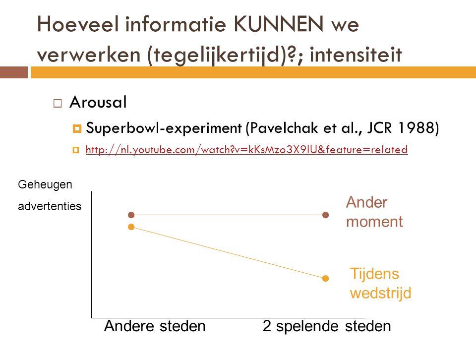 Hoeveel informatie KUNNEN we verwerken (tegelijkertijd)?; intensiteit  Arousal  Superbowl-experiment (Pavelchak et al., JCR 1988)  http://nl.youtube.com/watch?v=kKsMzo3X9IU&feature=related http://nl.youtube.com/watch?v=kKsMzo3X9IU&feature=related Ander moment Tijdens wedstrijd Andere steden2 spelende steden Geheugen advertenties
