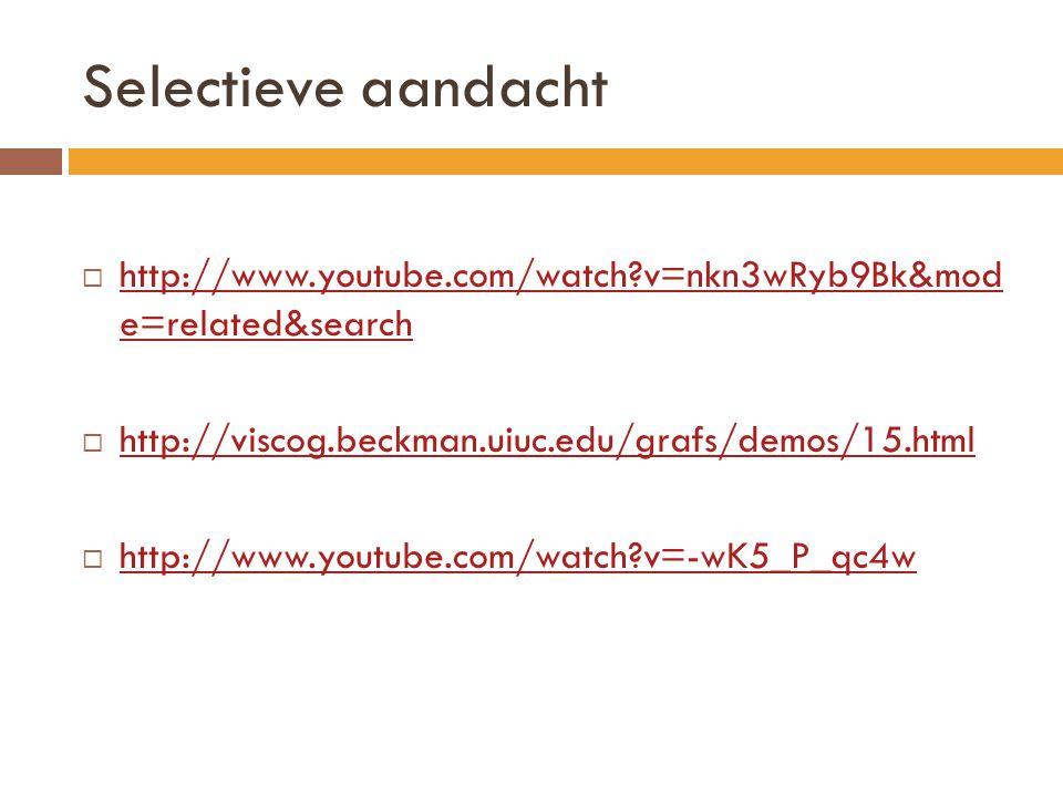 Selectieve aandacht  http://www.youtube.com/watch?v=nkn3wRyb9Bk&mod e=related&search http://www.youtube.com/watch?v=nkn3wRyb9Bk&mod e=related&search  http://viscog.beckman.uiuc.edu/grafs/demos/15.html http://viscog.beckman.uiuc.edu/grafs/demos/15.html  http://www.youtube.com/watch?v=-wK5_P_qc4w http://www.youtube.com/watch?v=-wK5_P_qc4w