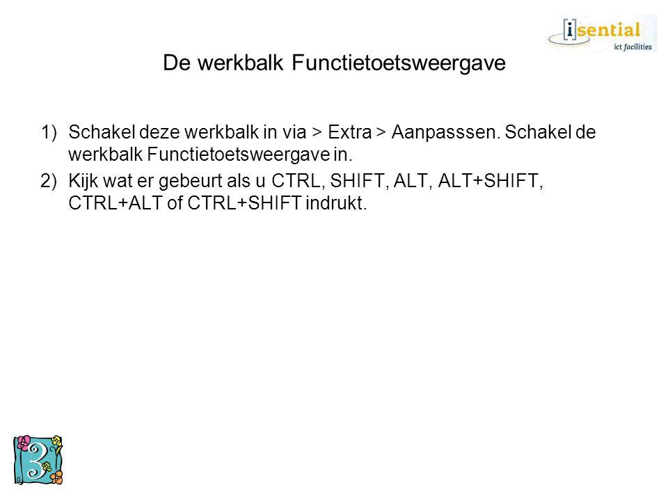De werkbalk Functietoetsweergave 1)Schakel deze werkbalk in via > Extra > Aanpasssen. Schakel de werkbalk Functietoetsweergave in. 2)Kijk wat er gebeu