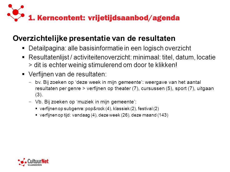 1. Kerncontent: vrijetijdsaanbod/agenda Overzichtelijke presentatie van de resultaten  Detailpagina: alle basisinformatie in een logisch overzicht 
