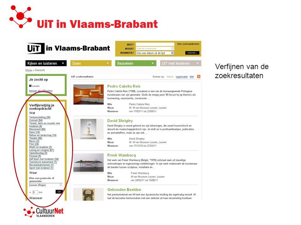 UiT in Vlaams-Brabant Verfijnen van de zoekresultaten