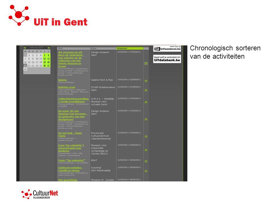 UiT in Gent Chronologisch sorteren van de activiteiten