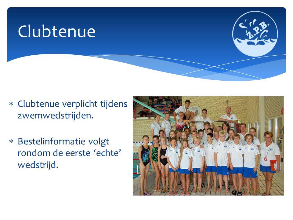  Clubtenue verplicht tijdens zwemwedstrijden.