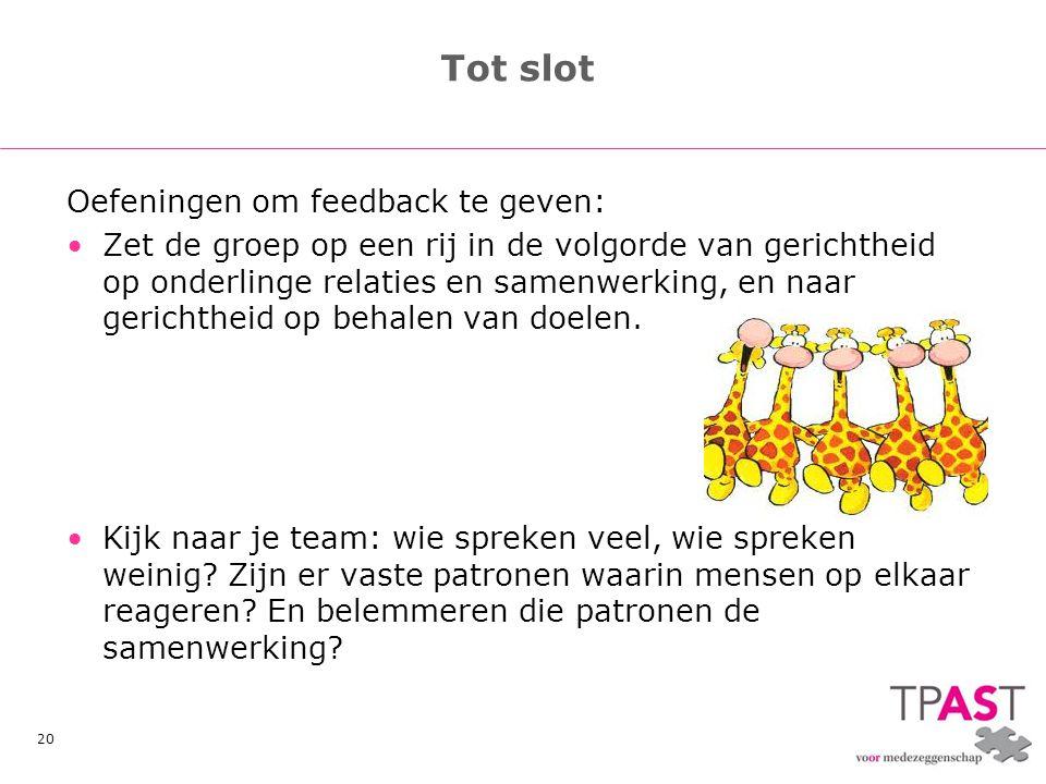 20 Tot slot Oefeningen om feedback te geven: •Zet de groep op een rij in de volgorde van gerichtheid op onderlinge relaties en samenwerking, en naar g