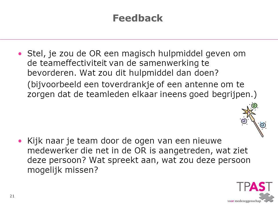 21 Feedback •Stel, je zou de OR een magisch hulpmiddel geven om de teameffectiviteit van de samenwerking te bevorderen. Wat zou dit hulpmiddel dan doe