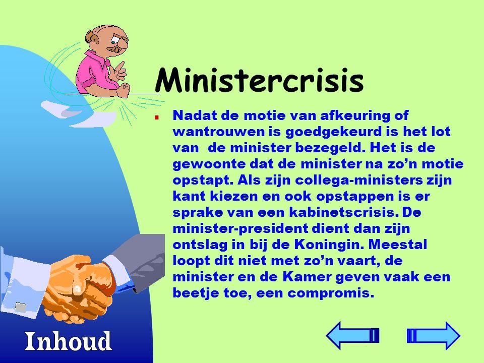 Ministercrisis n Nadat de motie van afkeuring of wantrouwen is goedgekeurd is het lot van de minister bezegeld.
