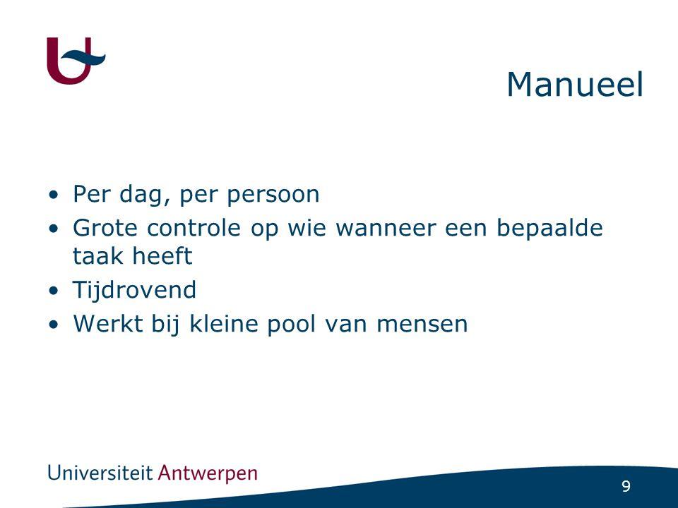 9 Manueel •Per dag, per persoon •Grote controle op wie wanneer een bepaalde taak heeft •Tijdrovend •Werkt bij kleine pool van mensen