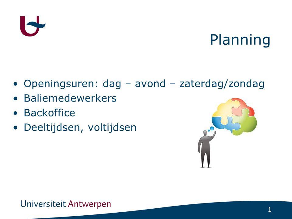 1 Planning •Openingsuren: dag – avond – zaterdag/zondag •Baliemedewerkers •Backoffice •Deeltijdsen, voltijdsen