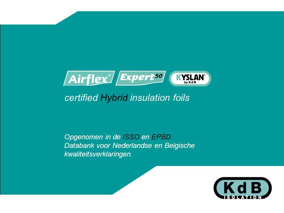 certified Hybrid insulation foils Opgenomen in de ISSO en EPBD Databank voor Nederlandse en Belgische kwaliteitsverklaringen.