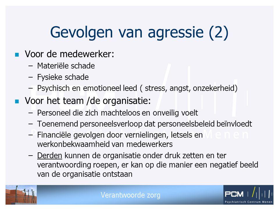 Gevolgen van agressie (2) n Voor de medewerker: –Materiële schade –Fysieke schade –Psychisch en emotioneel leed ( stress, angst, onzekerheid) n Voor h