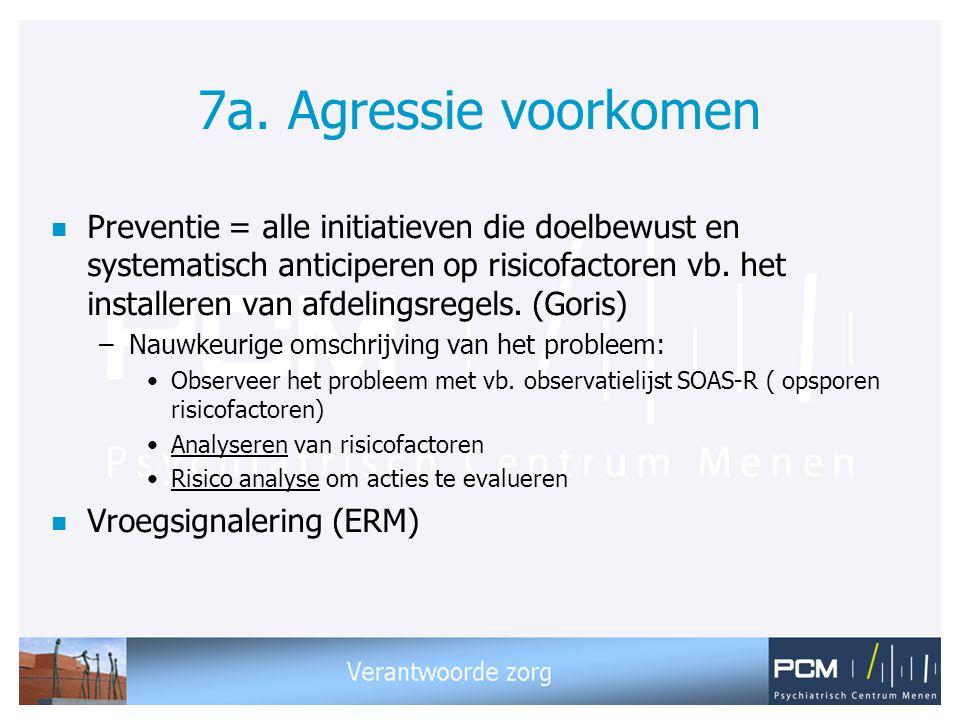 7a. Agressie voorkomen n Preventie = alle initiatieven die doelbewust en systematisch anticiperen op risicofactoren vb. het installeren van afdelingsr