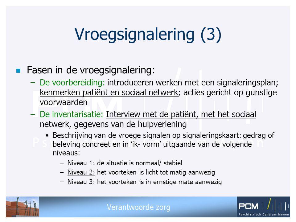 Vroegsignalering (3) n Fasen in de vroegsignalering: –De voorbereiding: introduceren werken met een signaleringsplan; kenmerken patiënt en sociaal net