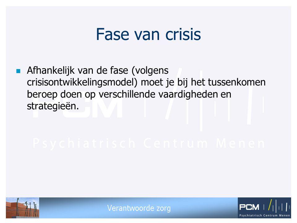 Fase van crisis n Afhankelijk van de fase (volgens crisisontwikkelingsmodel) moet je bij het tussenkomen beroep doen op verschillende vaardigheden en