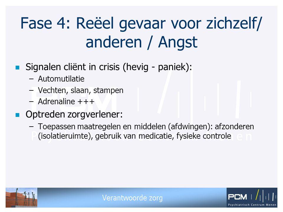 Fase 4: Reëel gevaar voor zichzelf/ anderen / Angst n Signalen cliënt in crisis (hevig - paniek): –Automutilatie –Vechten, slaan, stampen –Adrenaline