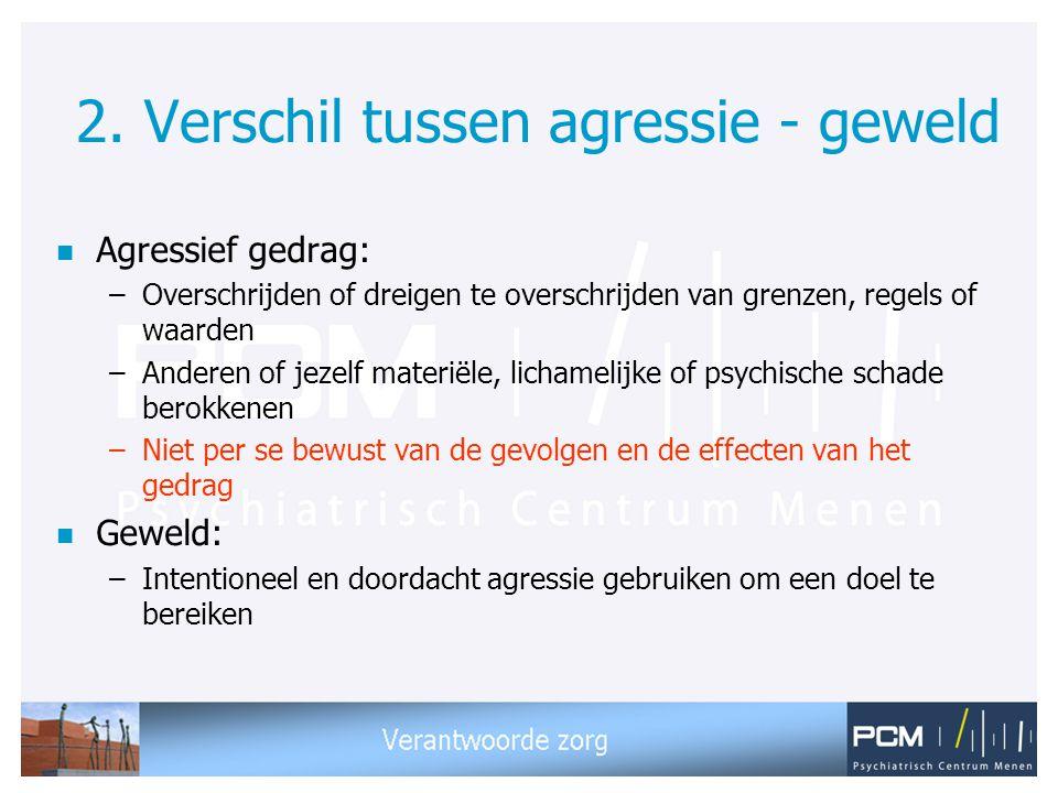 2. Verschil tussen agressie - geweld n Agressief gedrag: –Overschrijden of dreigen te overschrijden van grenzen, regels of waarden –Anderen of jezelf