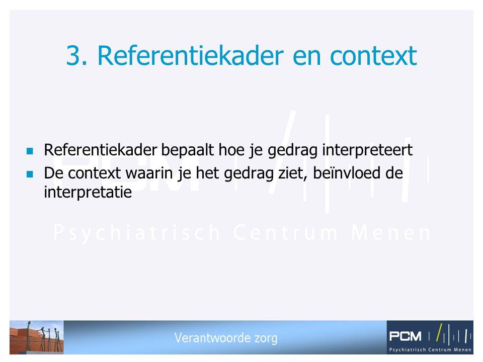 3. Referentiekader en context n Referentiekader bepaalt hoe je gedrag interpreteert n De context waarin je het gedrag ziet, beïnvloed de interpretatie