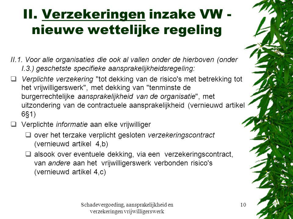 Schadevergoeding, aansprakelijkheid en verzekeringen vrijwilligerswerk 10 II.