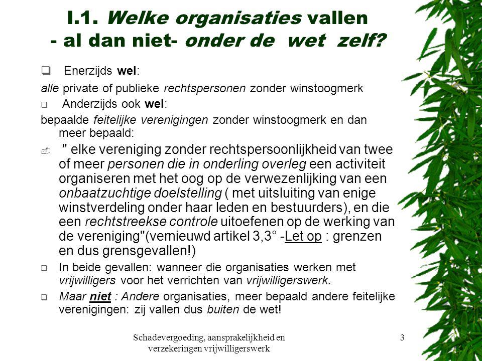 Schadevergoeding, aansprakelijkheid en verzekeringen vrijwilligerswerk 3 I.1.