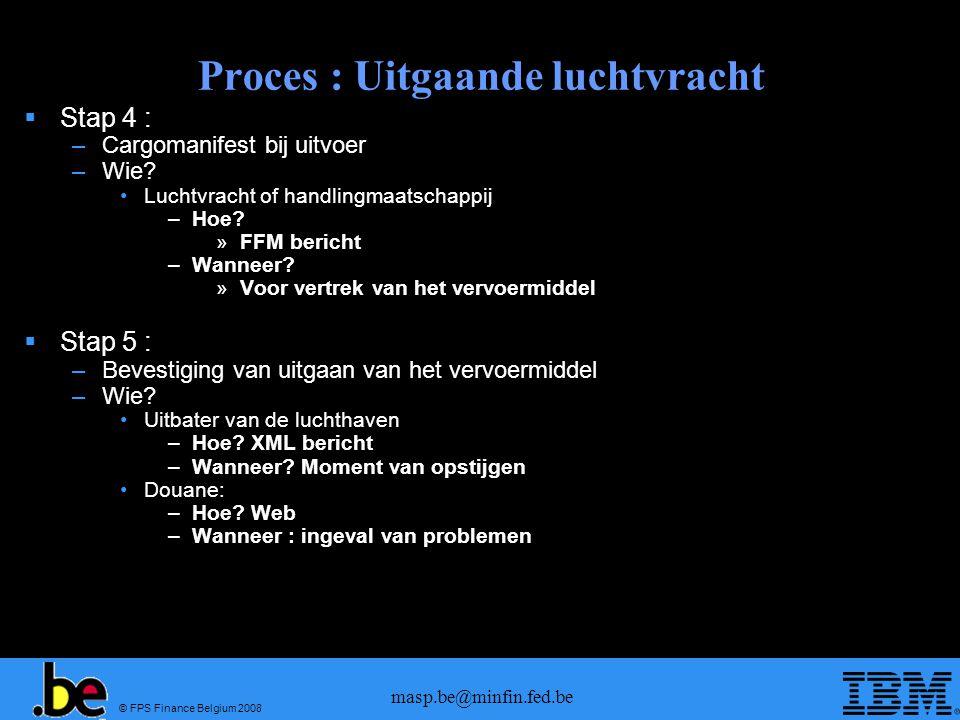 © FPS Finance Belgium 2008 masp.be@minfin.fed.be Proces : Uitgaande luchtvracht  Stap 4 : –Cargomanifest bij uitvoer –Wie? •Luchtvracht of handlingma