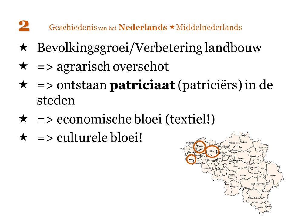 Geschiedenis van het Nederlands  Middelnederlands  Bevolkingsgroei/Verbetering landbouw  => agrarisch overschot  => ontstaan patriciaat (patriciër