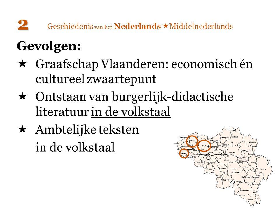 Geschiedenis van het Nederlands  Middelnederlands Gevolgen:  Graafschap Vlaanderen: economisch én cultureel zwaartepunt  Ontstaan van burgerlijk-di