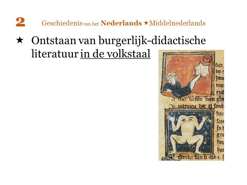 Geschiedenis van het Nederlands  Middelnederlands  Ontstaan van burgerlijk-didactische literatuur in de volkstaal 2