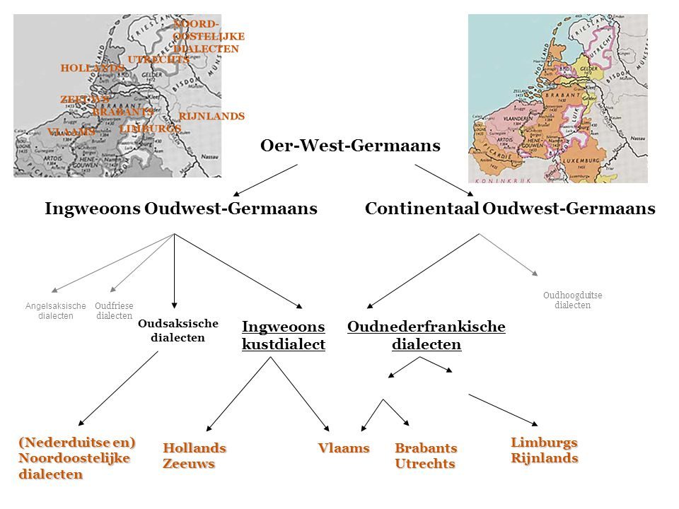 Oer-West-Germaans Ingweoons Oudwest-Germaans Continentaal Oudwest-Germaans Oudnederfrankische dialecten Ingweoons kustdialect Angelsaksische dialecten