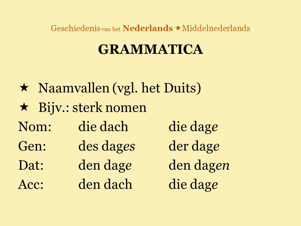 Geschiedenis van het Nederlands  Middelnederlands GRAMMATICA  Naamvallen (vgl. het Duits)  Bijv.: sterk nomen Nom: die dachdie dage Gen:des dagesde