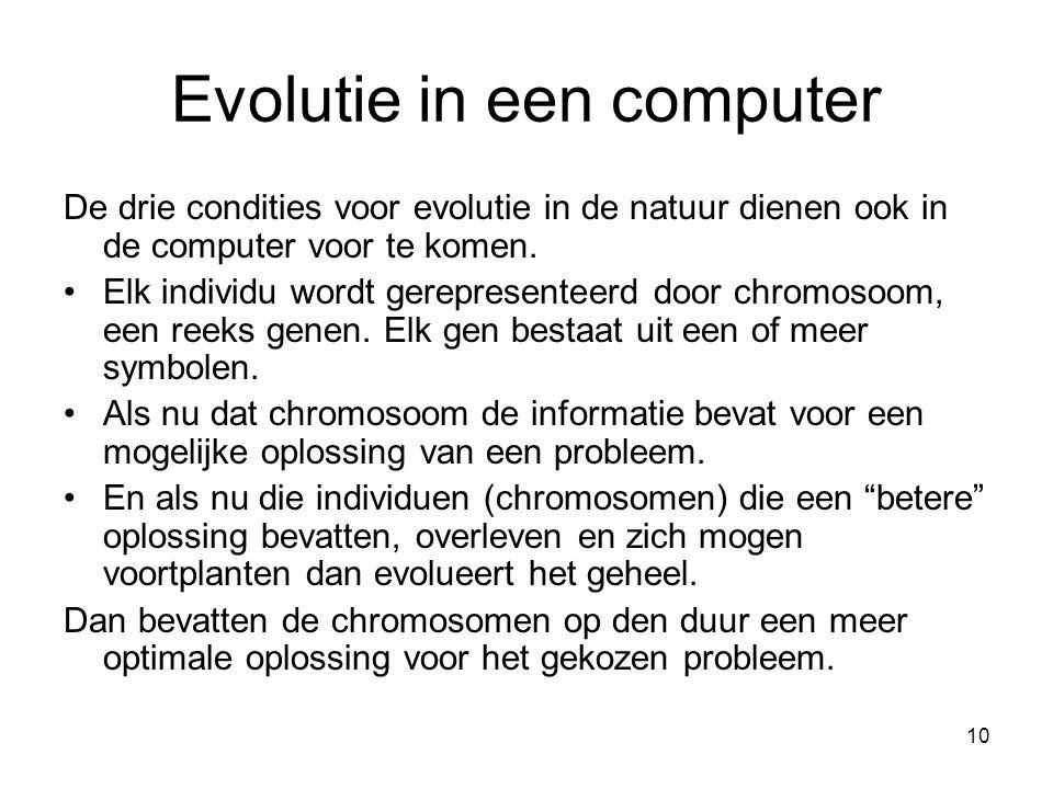 10 Evolutie in een computer De drie condities voor evolutie in de natuur dienen ook in de computer voor te komen. •Elk individu wordt gerepresenteerd