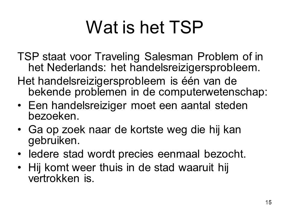 15 Wat is het TSP TSP staat voor Traveling Salesman Problem of in het Nederlands: het handelsreizigersprobleem. Het handelsreizigersprobleem is één va