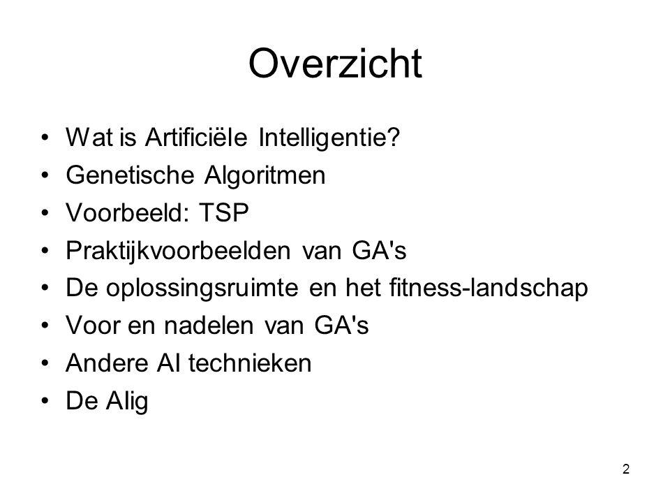 2 Overzicht •Wat is Artificiële Intelligentie? •Genetische Algoritmen •Voorbeeld: TSP •Praktijkvoorbeelden van GA's •De oplossingsruimte en het fitnes