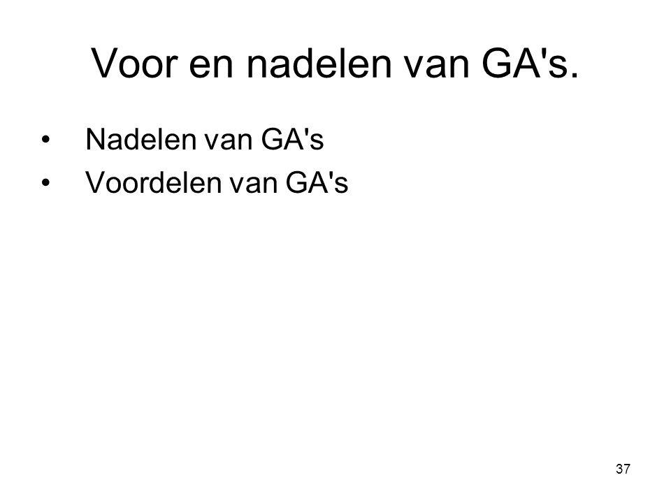 37 Voor en nadelen van GA's. •Nadelen van GA's •Voordelen van GA's